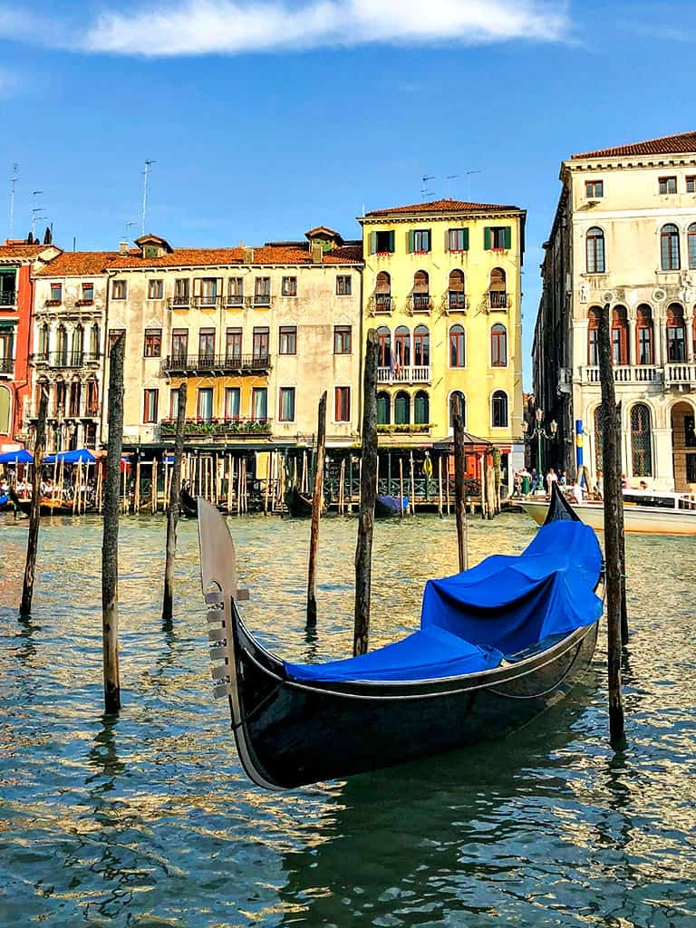 A gondola parked on the Grand Canal