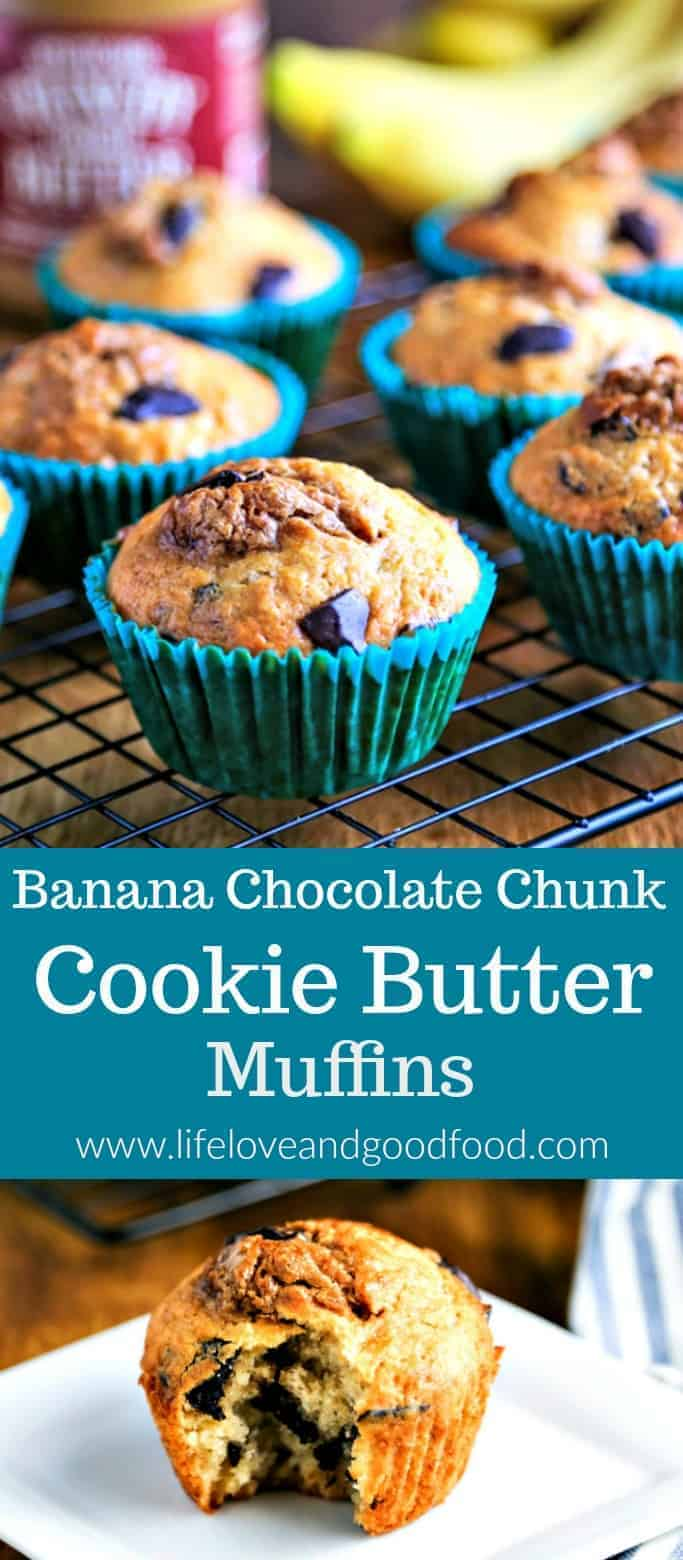 Banana Chocolate Chunk Cookie Butter Muffins | Life, Love, and Good Food #muffins #cookiebutter #brunch #breakfast #backtoschool #muffinweek2018