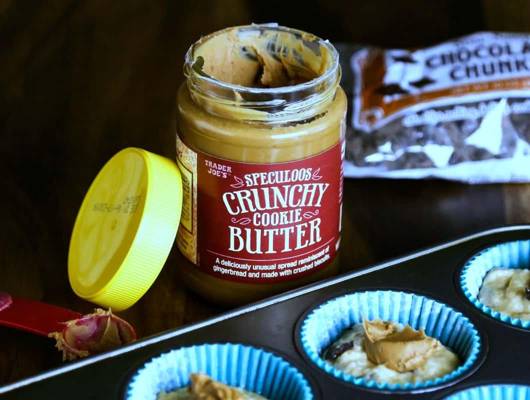 an open jar of crunchy cookie butter