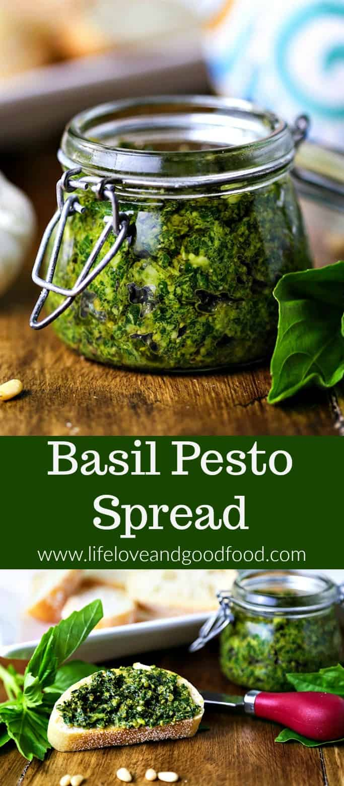 An abundance of fresh basil leaves calls for classic—and versatile—Basil Pesto Spread! Serve it as an appetizer on toasted crostini or as the main meal tossed with angel hair pasta.
