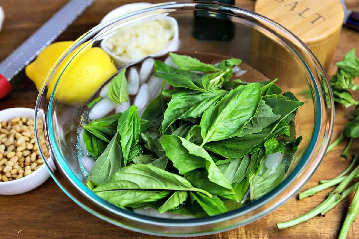 A bowl of basil leaves in ice water