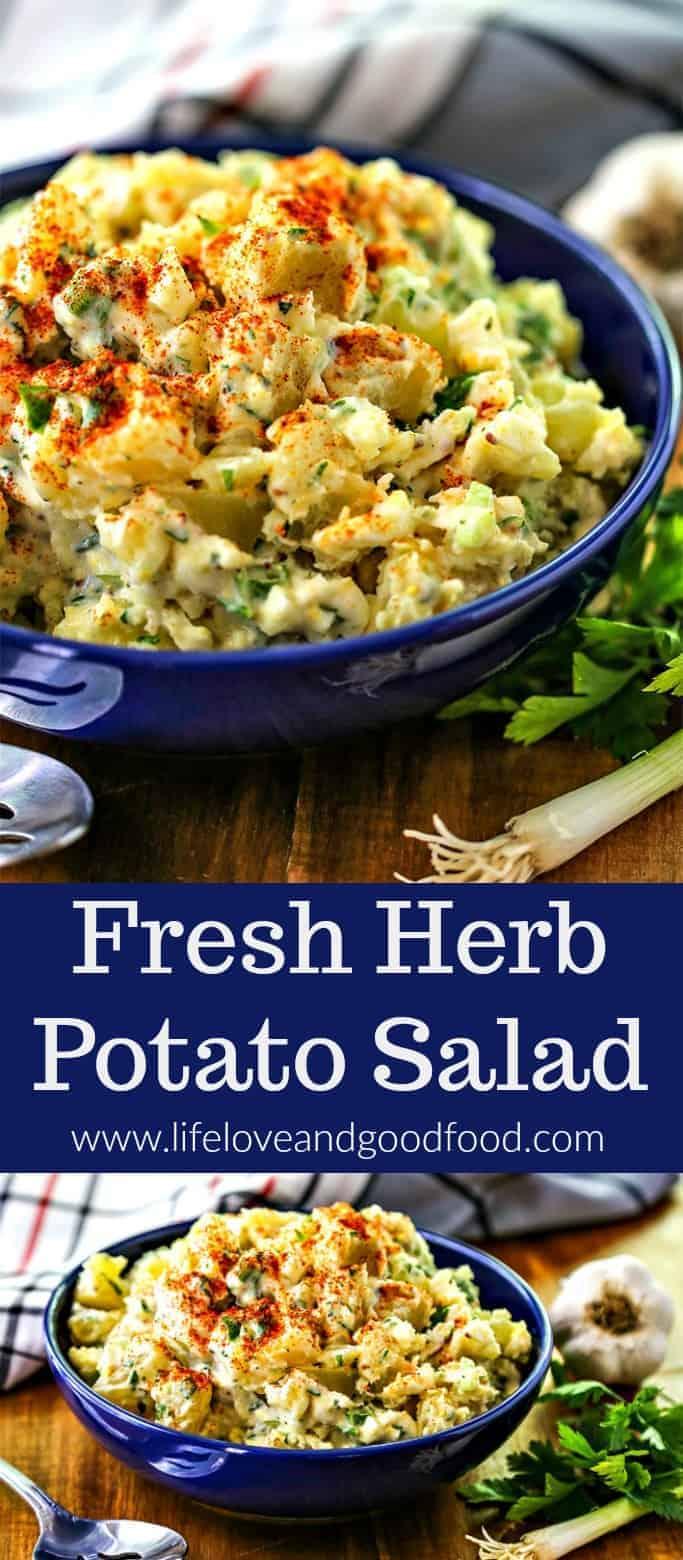 Fresh Herb Potato Salad. The flavor of this classic, creamy potato salad is enhanced by using fresh herbs—tarragon and parsley—in the dressing. #potatosalad #picnic #potluck #sidedish #vegetable #salad