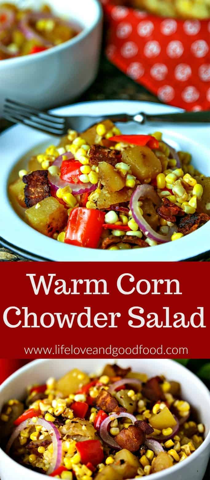 Warm Corn Chowder Salad—a quick pan fry of freshly cut corn, creamy Yukon gold potatoes, and diced red bell peppers is the base for this tangy vegetable salad. #salad #corn #potato #chowder #recipe #vegetable #sidedish