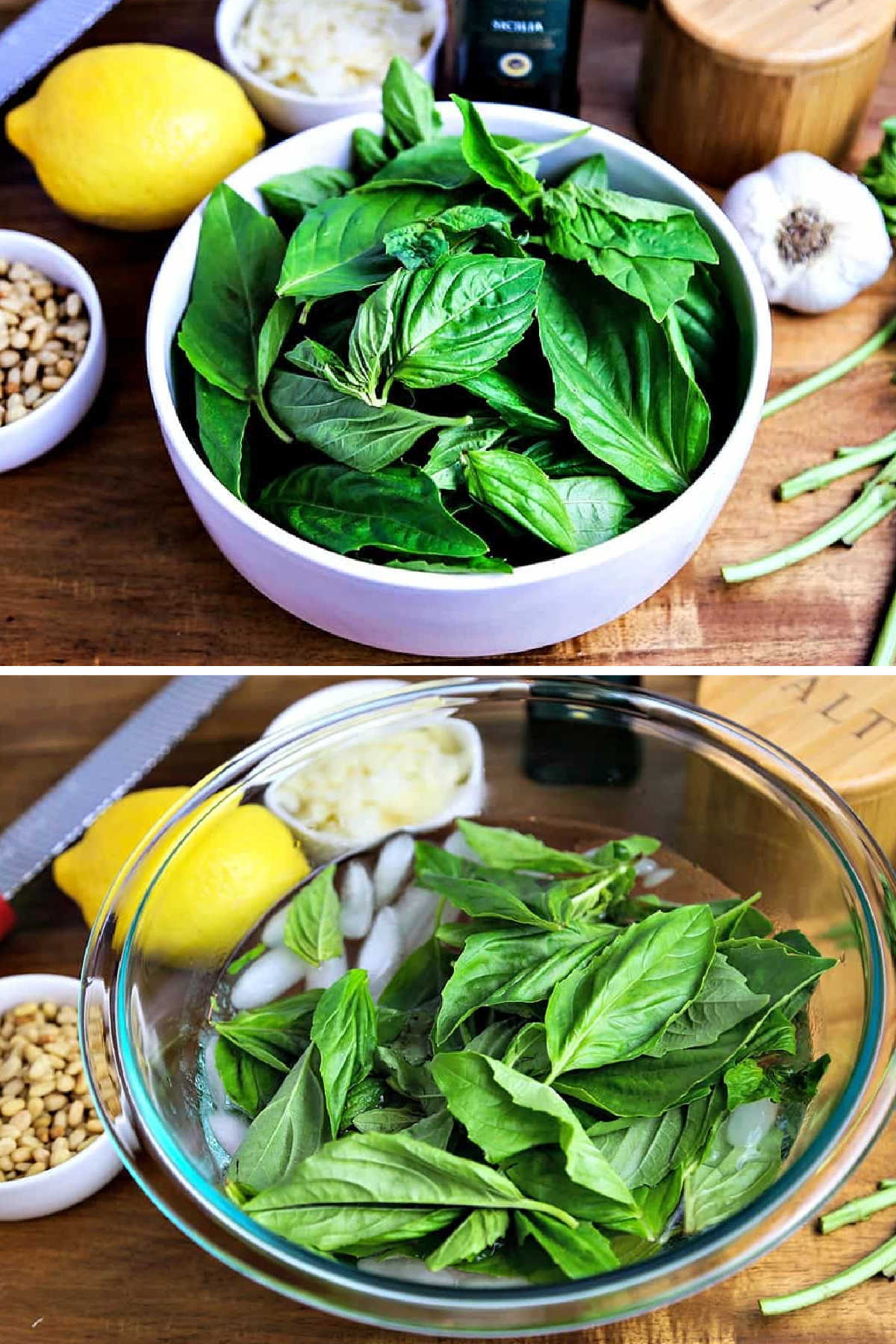 process steps for shocking basil leaves in a bowl of ice water.