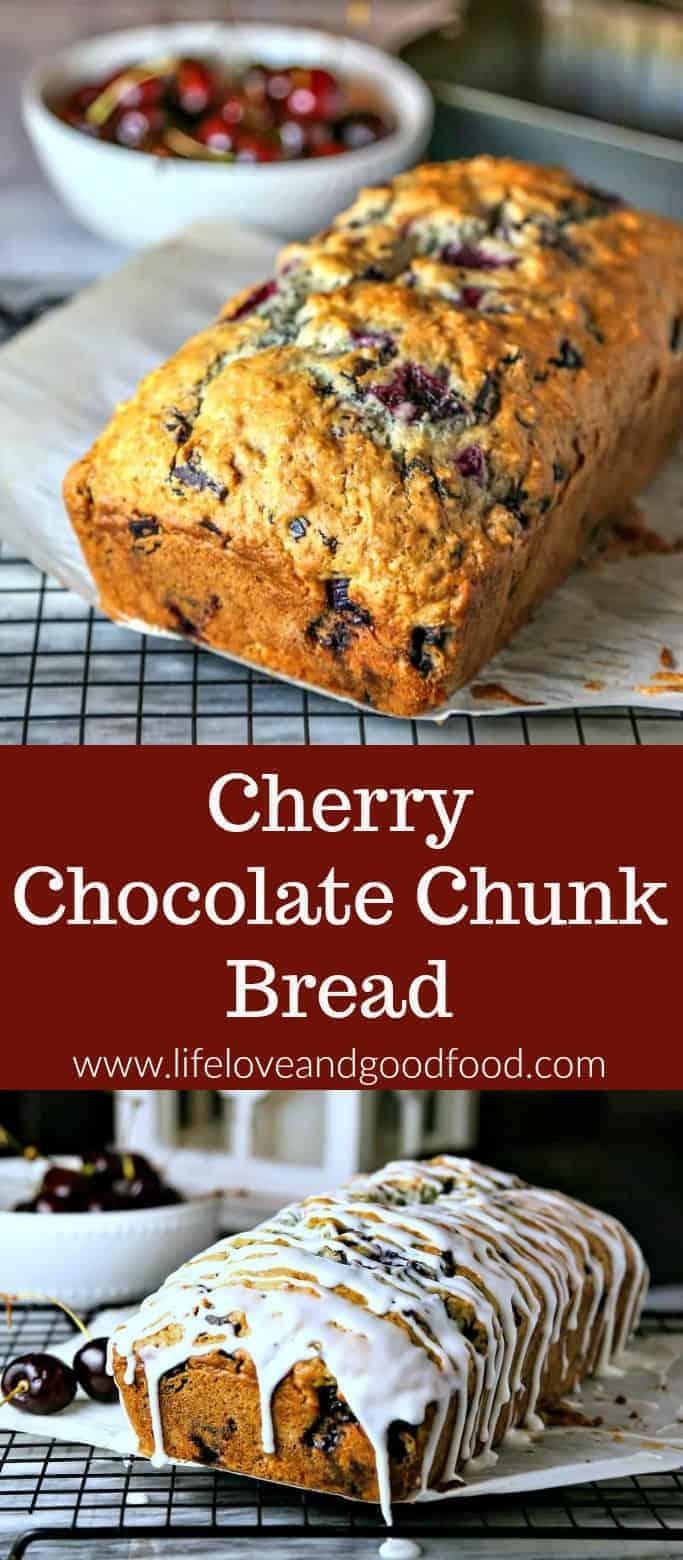Cherry Chocolate Chunk Bread #cherry #quickbread #brunch #recipe #chocolate