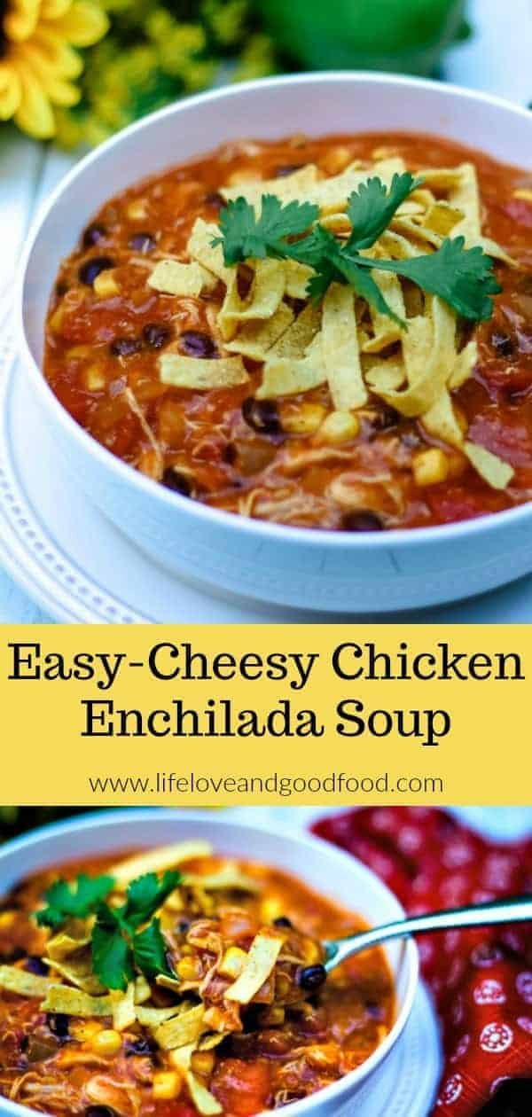 Get ready for Fall football parties and tailgates with this EASY-Cheesy Chicken Enchilada Soup made with a deli rotisserie chicken. Start to finish, this soup is ready in about 30 minutes! #soup #chicken #enchiladasoup #recipe #easyrecipe