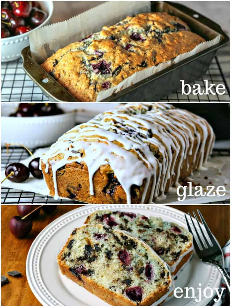 Several different images of chocolate cranberry bread on a table