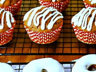 Pumpkin Spice Muffins and Donuts with Cream Cheese Glaze