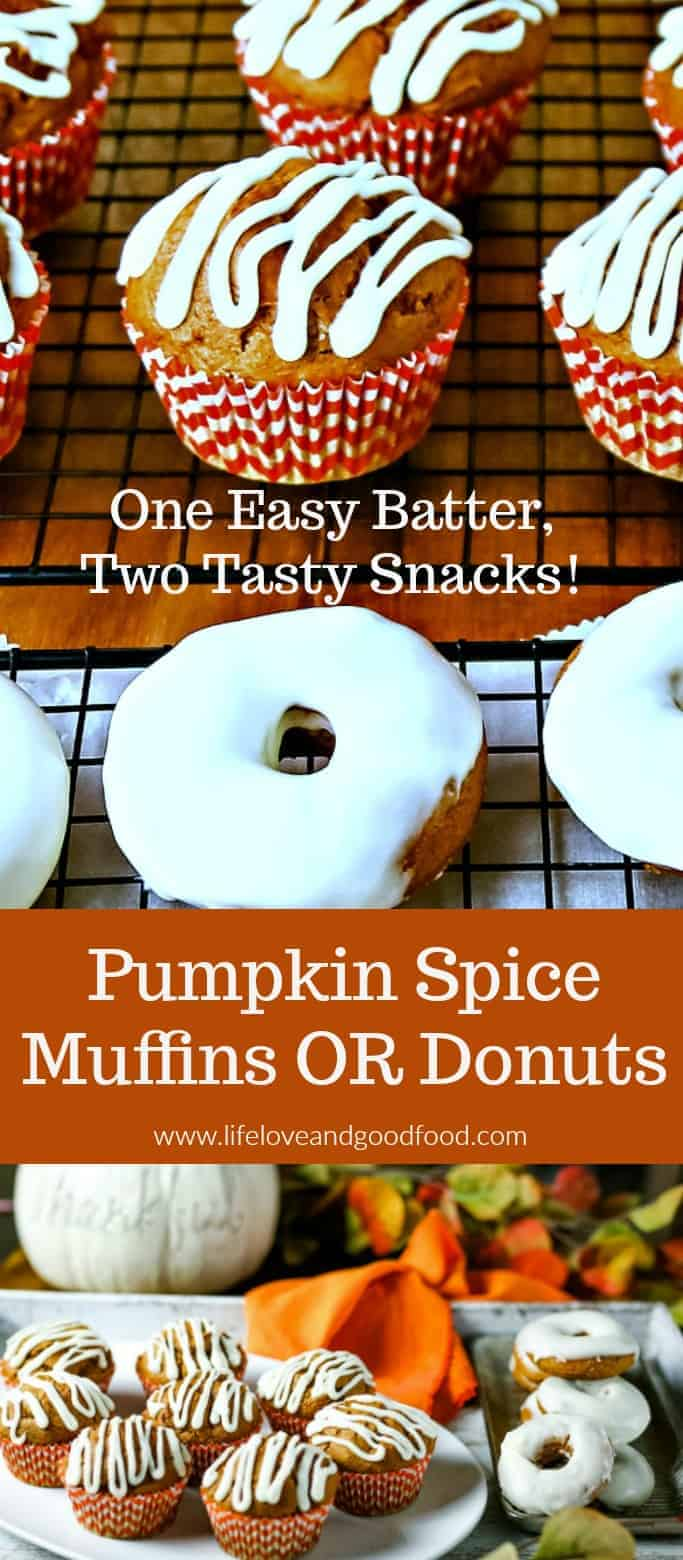 One easy recipe, two tasty pumpkin snacks!  Make either pumpkin spice muffins or pumpkin spice donuts from the same batter and fnish them off with a cream cheese drizzle for a yummy Autumn treat. #pumpkin #donut #muffin #easy #recipe