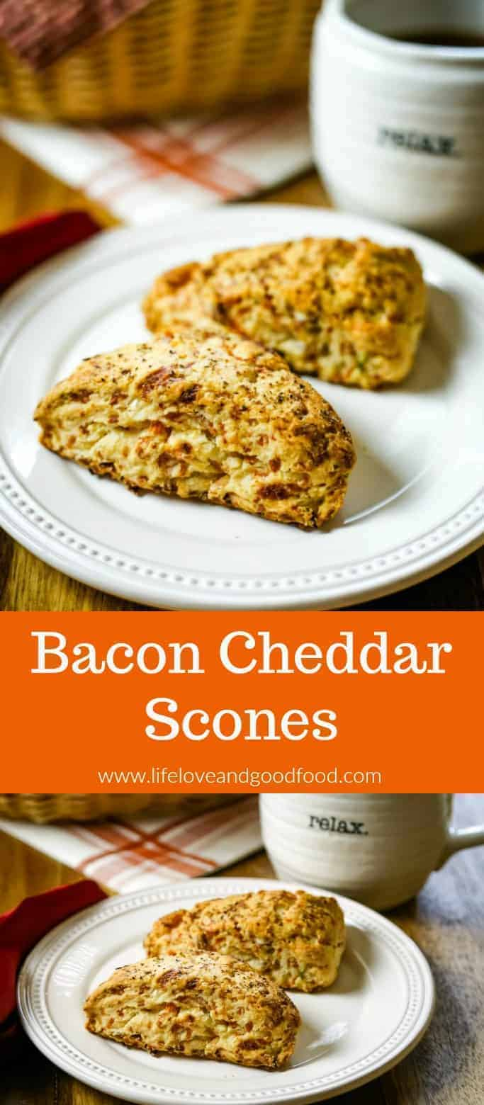 Bacon Cheddar Scones, filled with cheese, crispy bacon, and green onions are a wonderful addition to brunch menus and even pair perfectly with a savory soup. #brunch #breakfast #scones #quickbread #bacon #cheddarcheese #cheese #biscuit #bread