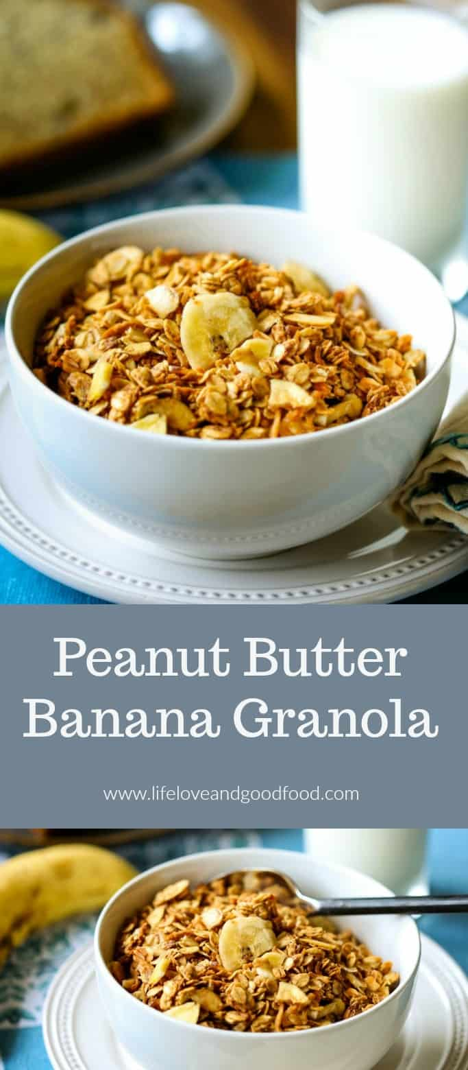 Made with old-fashioned oats, homemade Peanut Butter Banana Granola a is sweetened with honey and has added crunch from dried banana chips, toasted flaked coconut, and sliced almonds. #granola #breakfast #homemadegranola #brunch #yogurtparfait #oats #peanutbutter #banana