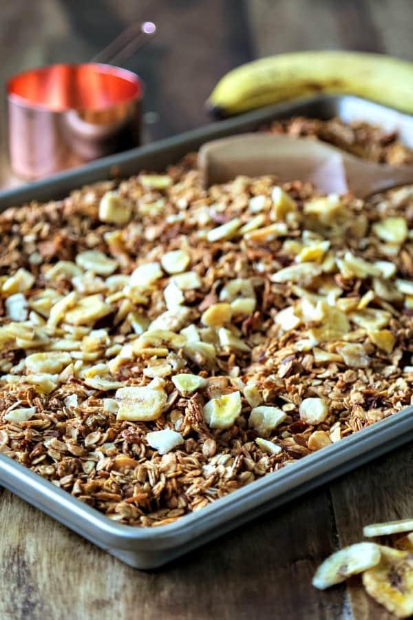 A tray of granola