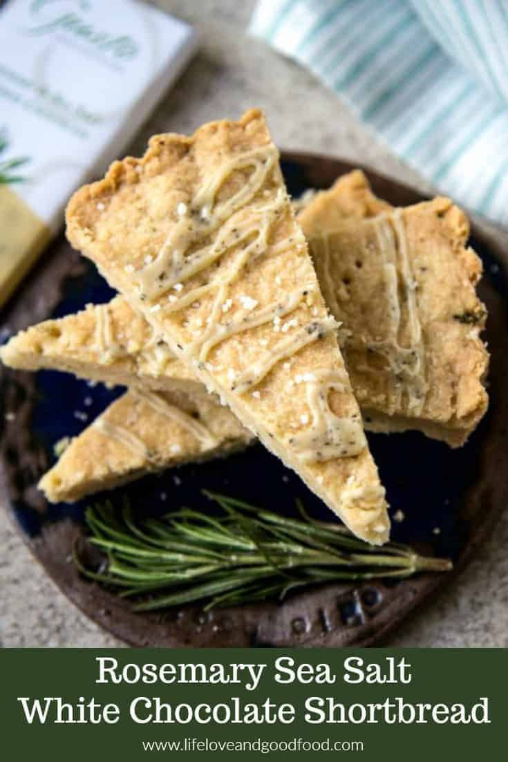 Rosemary Sea Salt White Chocolate Shortbread — Both savory and sweet, this shortbread has a delicate texture and is topped with a white chocolate rosemary sea salt glaze. #shortbread