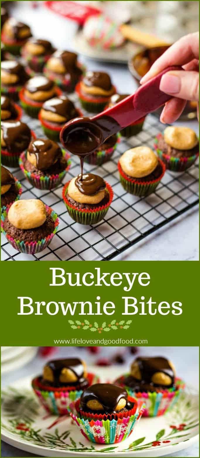 "Buckeye Brownie Bites — satisfy brownie lovers and peanut butter lovers alike — miniature chocolate brownies topped with a peanut butter ""buckeye"" candy ball drizzled with dark chocolate ganache #sweetestseasoncookies #browniebites"