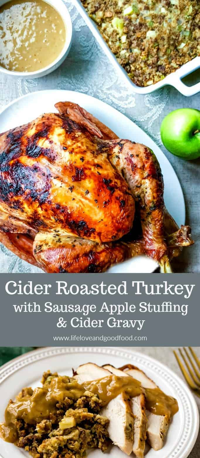 This Cider Roasted Turkey gets a flavor boost from a buttery apple cider infusion under its skin and is accompanied with Sausage Apple Stuffing and Cider Gravy for a festive Fall apple Thanksgiving feast! #Thanksgiving #OXO #AD