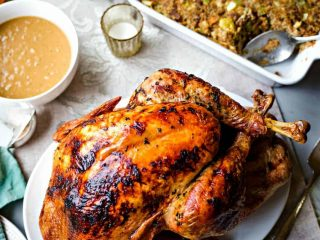 Cider Roasted Turkey with Sausage Apple Stuffing and Cider Gravy