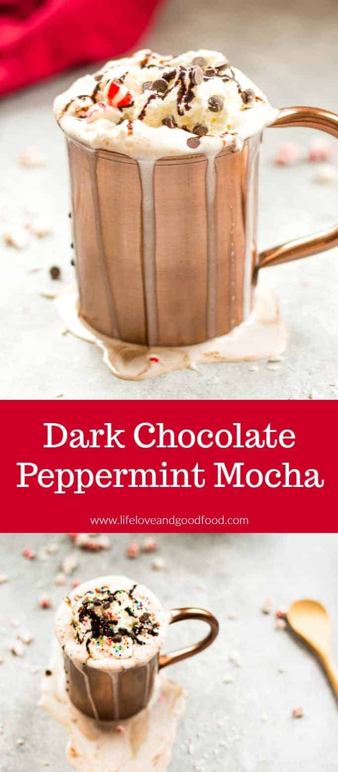 Dark Chocolate Peppermint Mocha made with Torani Dark Chocolate Sauce and Peppermint Syrup is a festive drink for the holidays! #peppermintmocha #hotchocolate