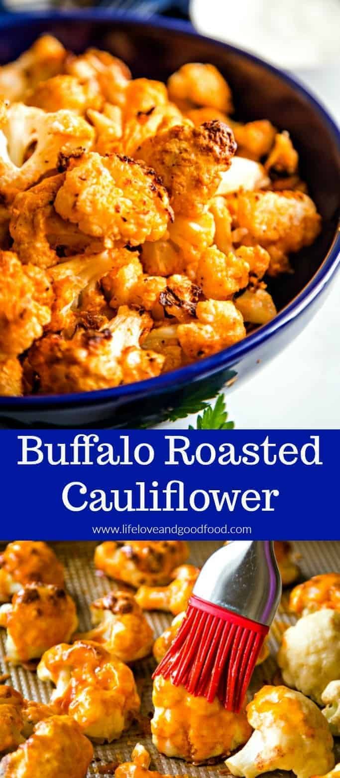 Served as an appetizer — or even as a side dish — this bite-size Buffalo Roasted Cauliflower is crispy, tangy, and very flavorful! #buffalocauliflower #roastedcauliflower