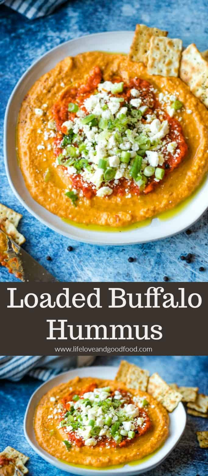 Plan a healthier Super Bowl Party menu with Loaded Buffalo Hummus, a delicious game day appetizer prepared in five minutes and with only five ingredients! #buffalohummus #gamedayfood