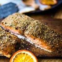 salmon cooked on a cedar plank with citrus dry rub