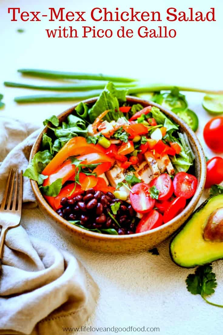 Tex-Mex Chicken Salad with fresh vegetables