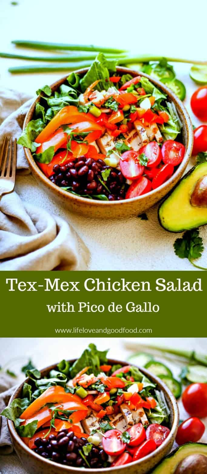 Tex-Mex Chicken Salad with Pico de Gallo. With plenty of fresh ingredients, and by leaving off a heavy, calorie-laden dressing, you can feel good all day long about this salad! #chickensalad #texmex