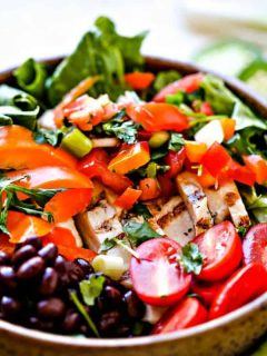 Tex-Mex Chicken Salad in bowl with black beans