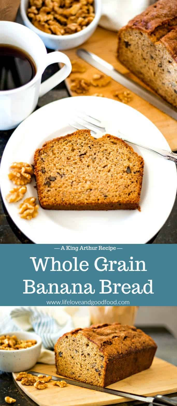 This Whole Grain Banana Nut Bread made with walnuts is moist and delicious! #bananabread #banananutbread #quickbread