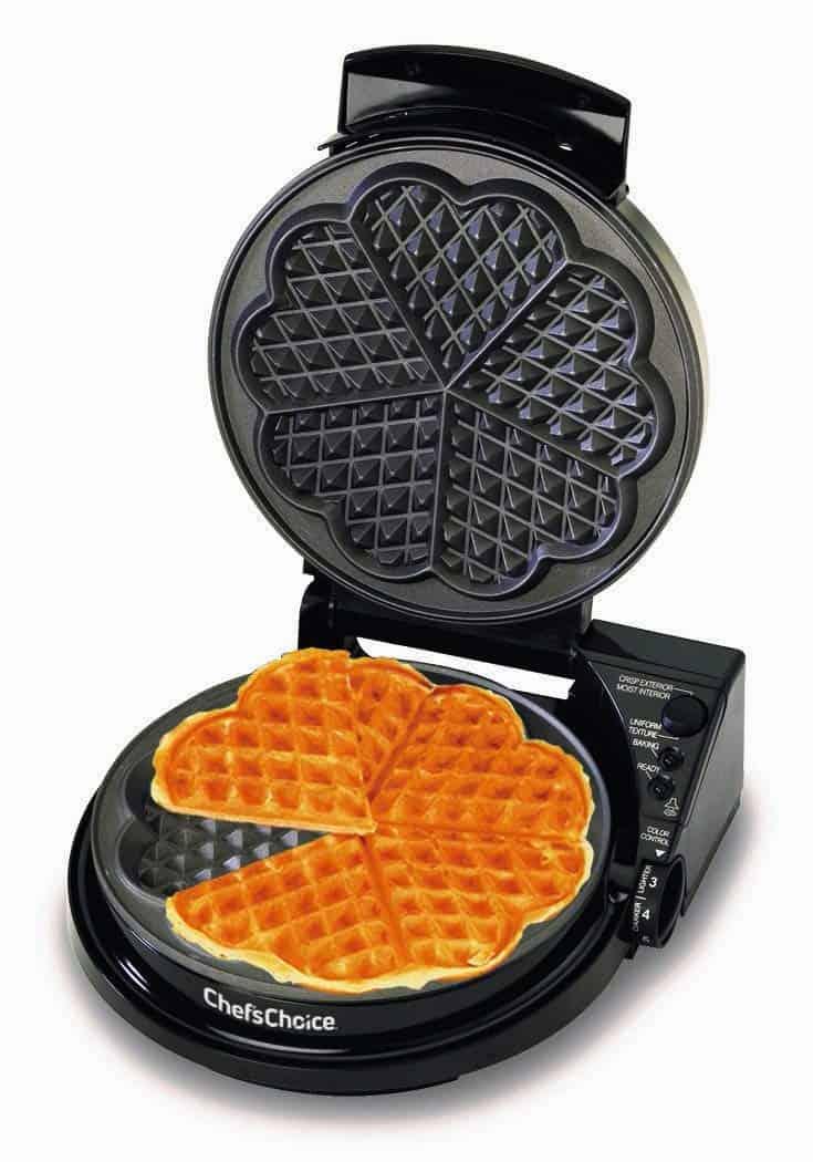 Waffle Iron with heart shaped waffles