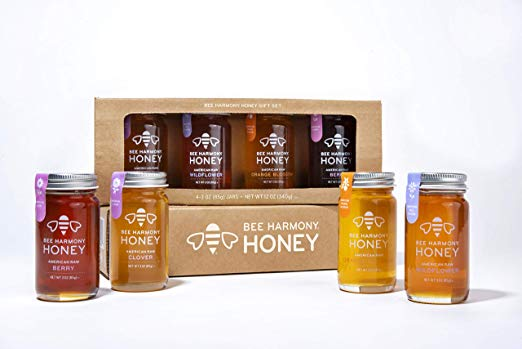 a gift set of different flavors of honey