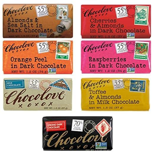 a bunch of Chocolove Chocolate bars