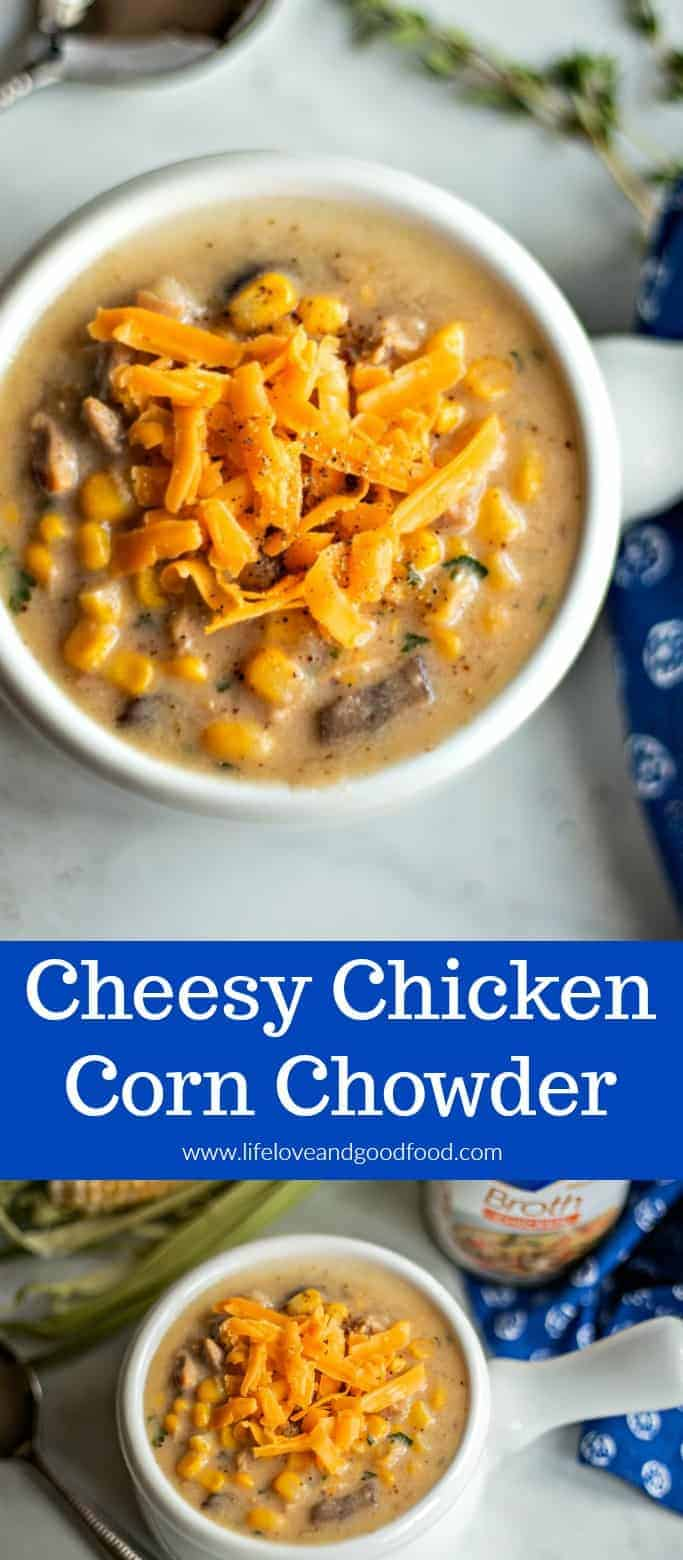 Cheesy Chicken Corn Chowder. Using a rotisserie chicken and frozen corn are real time savers in this homemade soup recipe, but you can always use fresh chicken and fresh cut-off corn if you prefer. To serve, top the chowder with extra cheese and serve with a crusty bread—so comforting and so delicious! #soup #chowder #cornchowder #easyrecipe #dinnertonight