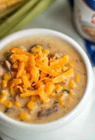 Cheesy Chicken Corn Chowder made with Swanson Chicken Broth