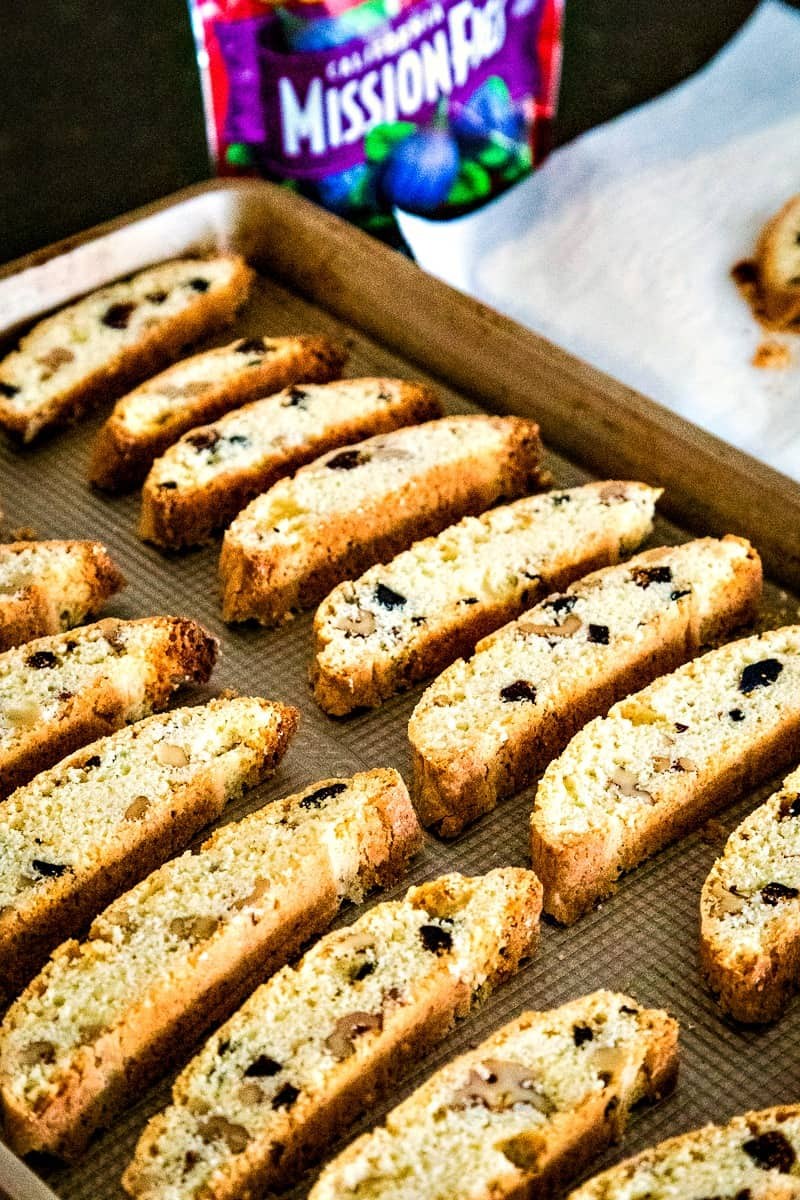 Fig and Walnut Biscotti on baking sheet