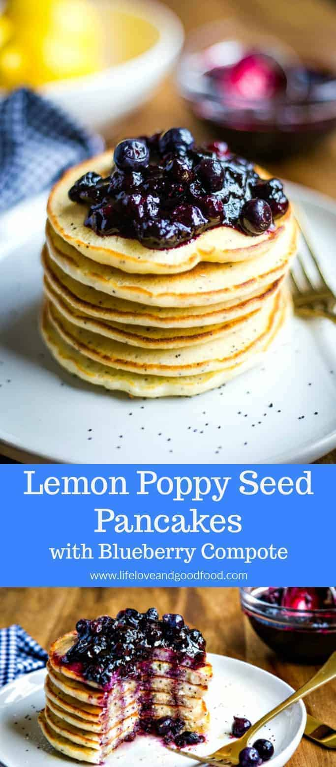 Lemon Poppy Seed Pancakes with Blueberry Compote is a winning breakfast recipe worthy of any B&B menu. Light and airy, with just the right mix of sweetness and tartness, these lemon pancakes pair perfectly with the warm blueberry compote which also includes fresh lemon zest. #lemonpancakes #pancakes #blueberrycompote