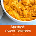 Mashed Sweet Potatoes in white bowl with serving spoon