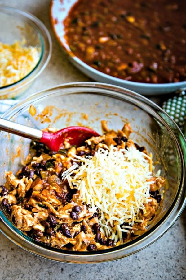 Chicken Black Bean Enchiladas mixture