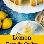 Lemon Bundt Cake with fresh lemon zest and a lemon glaze. Easy made-from-scratch cake recipe! #bundtcake #lemoncake #poundcake #dessert