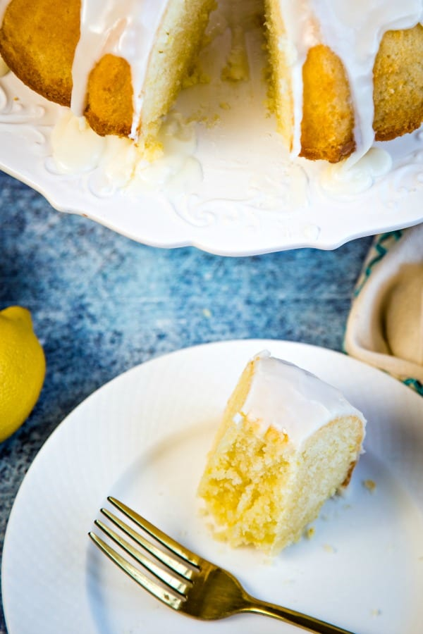 lemon bundt cake with slice missing