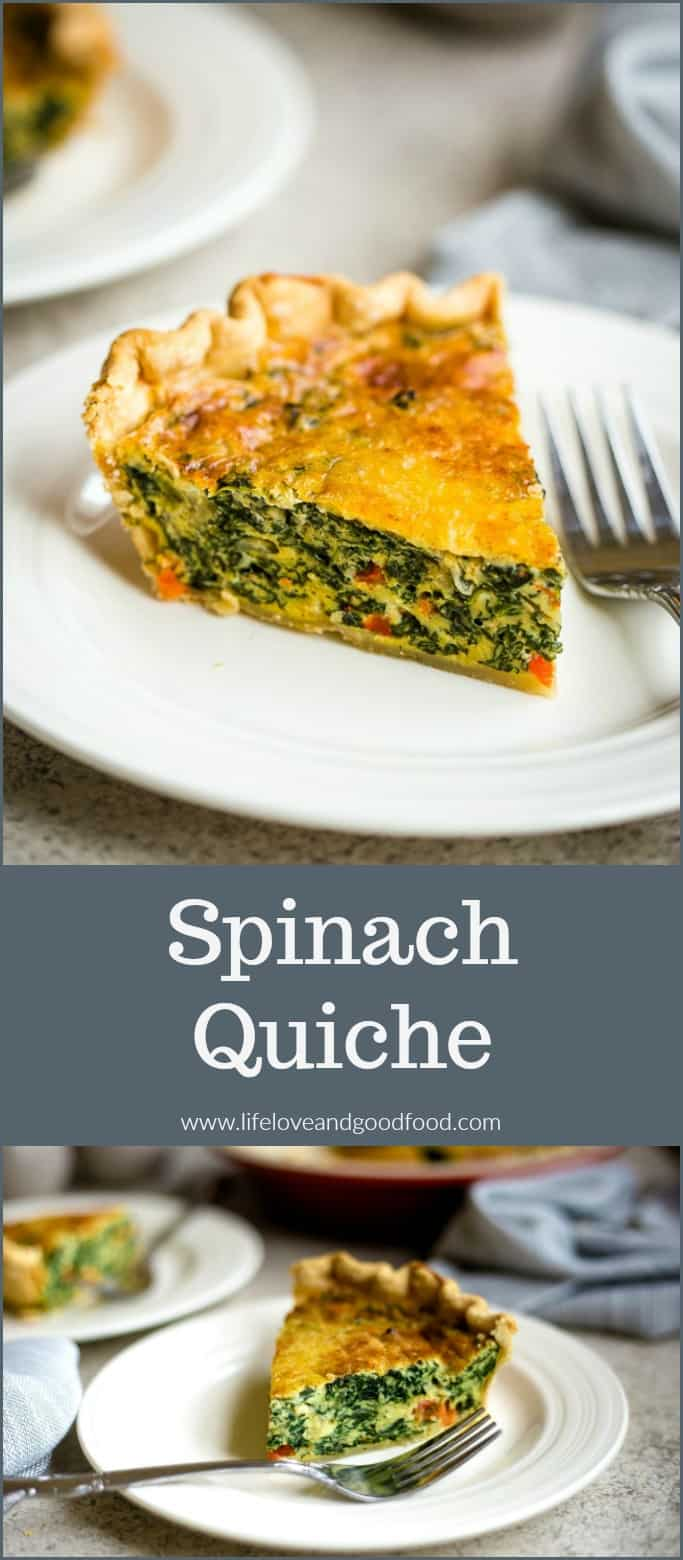 Spinach quiche makes a delicious breakfast or brunch recipe and can even be served as a lunch or dinner entrée. You'll love this creamy version! #spinachquiche #quiche #brunch