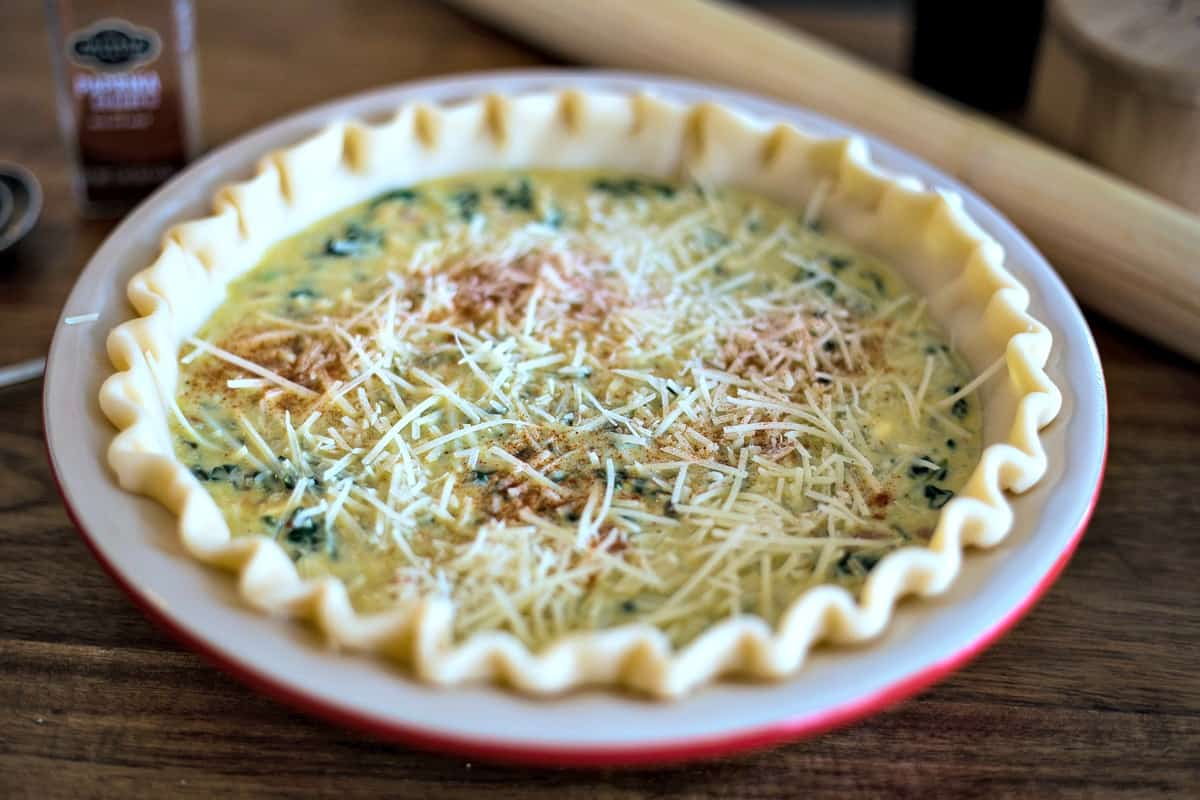 unbaked spinach quiche