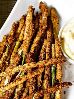Air Fryer Asparagus Fries with Lemon Aioli