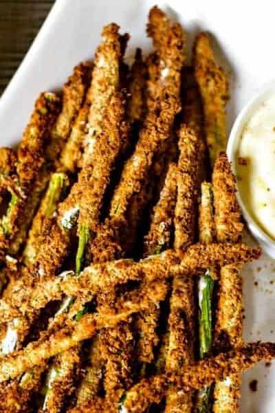 Air Fryer Asparagus Fries with Lemon Aioli