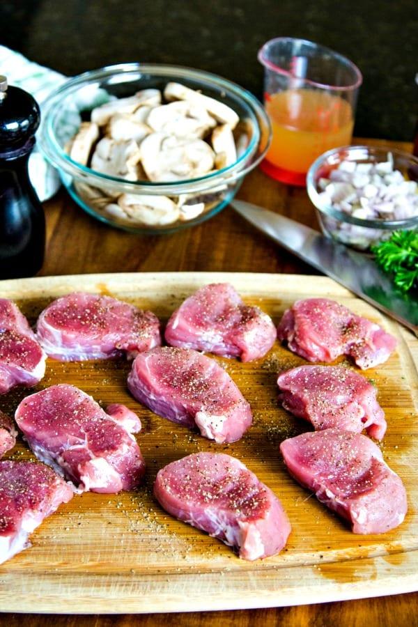 pork tenderloin sliced into medallions