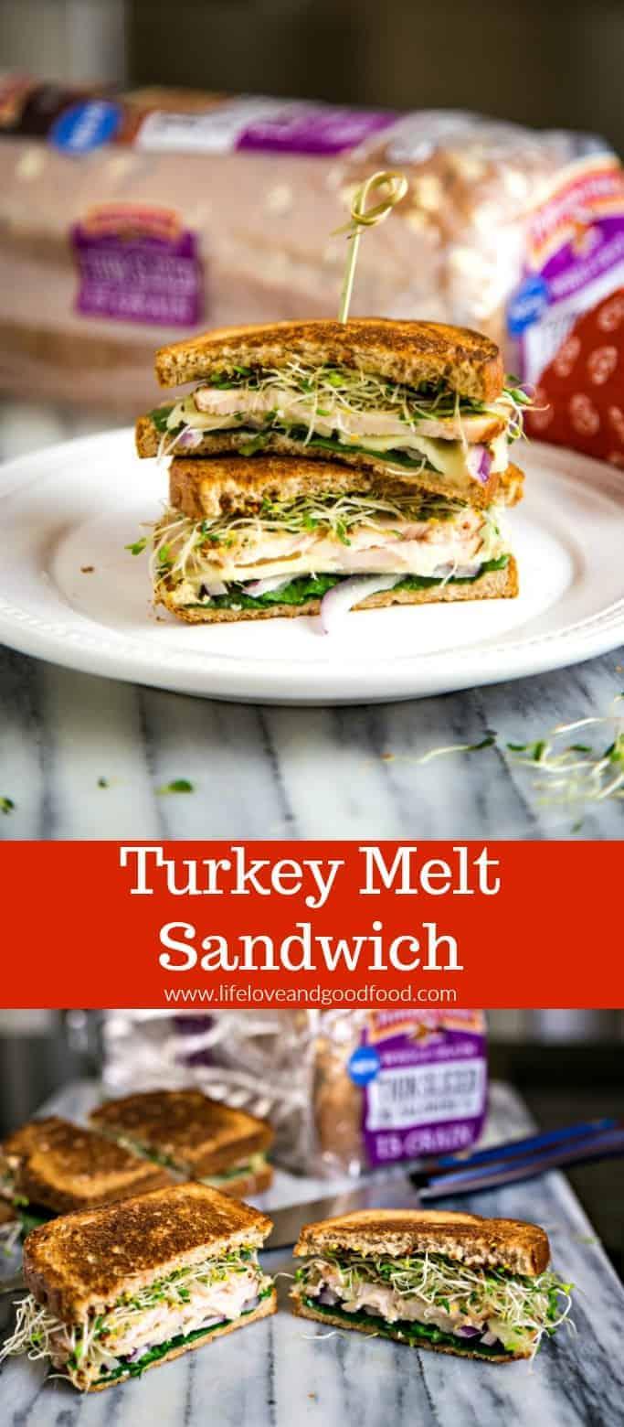 A delicious sandwich stuffed with smoked turkey, veggies, and cheese on Pepperidge Farm® Whole Grain Thin Slice Bread #ad #PepperidgeFarm