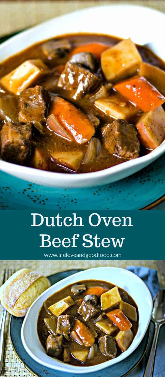 Dutch Oven Beef Stew is a hearty and delicious no-fuss recipe chock full of beef, red potatoes, onions, carrots, and mushrooms in a red wine sauce. #beefstew #dinner #easyrecipe #sponsored #TuxtonHome