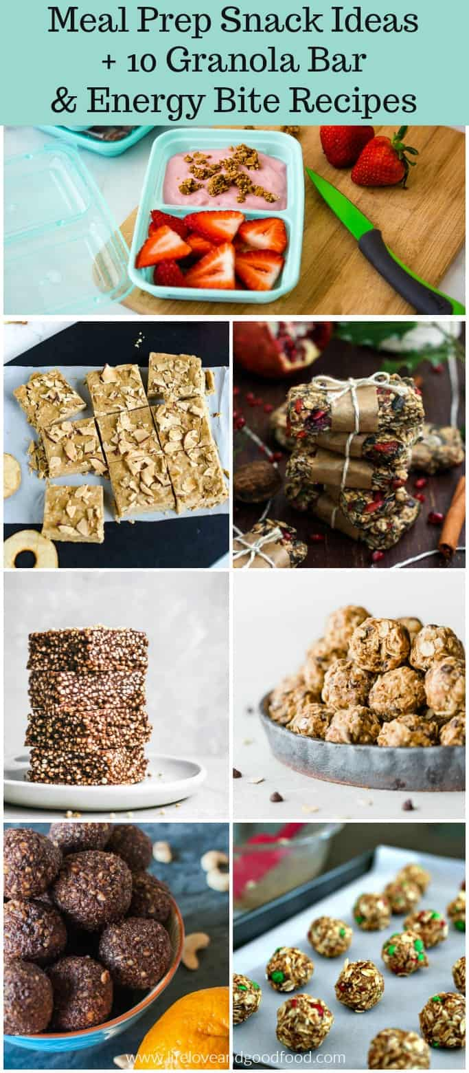 Easy meal prep snack ideas plus 10 granola bar and energy bite recipes for quick, healthy, on-the-go snacks all week long! #mealprepsnacks #goodcook #sponsored