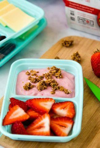 snack of fruit and yogurt plus antipasti