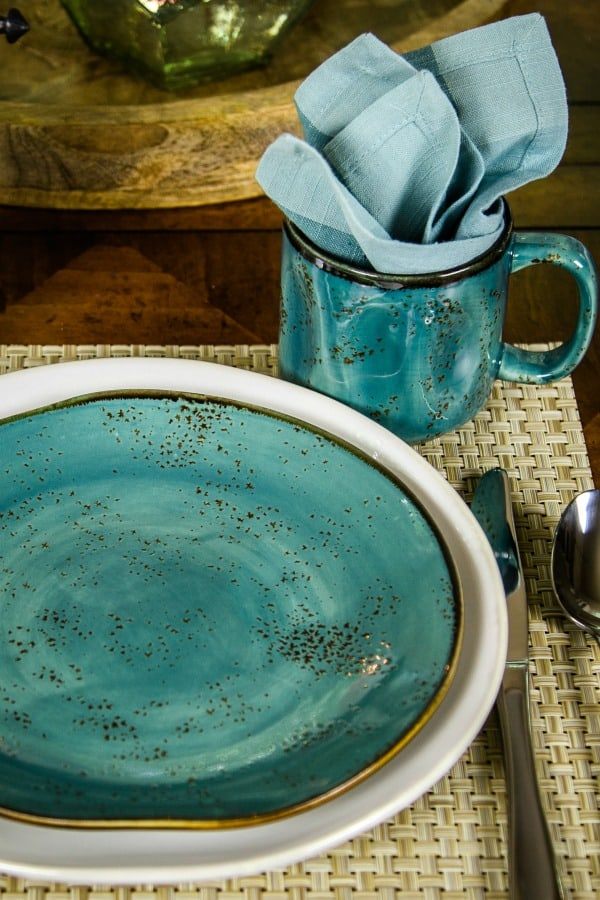 turquoise salad plate on a white dinner plate