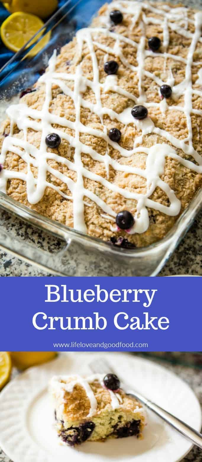 Blueberry Crumb Cake topped with Lemon Glaze is not only a delicious addition to brunch menus, but is also a tasty snack cake for coffee breaks or dessert. #coffeecake #crumbcake